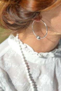 Ohrencreolen silber mit Kugel gehämmert art nr. Os 228