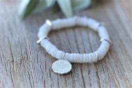 Edelsteinarmband silber Surri Regenbogenmondstein weiss Pinksand art nr. A 482