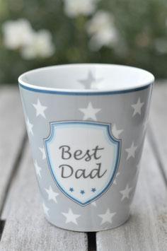 """Krasilnikoff Tassse """" best Dad"""" hellgrau mit sternen art nr. K 2"""
