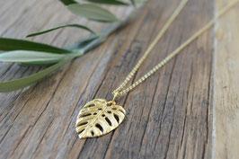 gold Halskette Anker 60 cm Anhänger Monstera Blatt struktur pink sand art nr. Gh 24