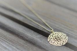 Halskette gold kugeli 90 cm  mit Amulett fein matt Art nr H/A 114