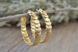 Ohrencreolen Rondelle gold Pink sand art nr. Go 33