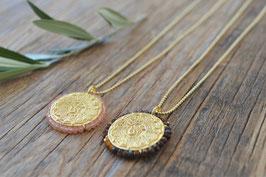 SALE gold Kugeli Halskette  1,5 mm 80 cm mit Anhänger Münze Pink sand art nr. Gh 27
