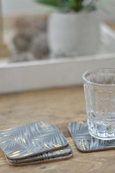 4 er Set Glas Untersatz mit Palmen Art Nr. Acc 20