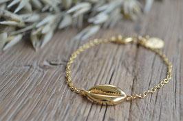 gold  Kauri Muschel Armkette PINK SAND art nr. GA 13