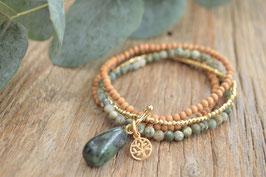 SALE gold Armband vierfach mit Edelstein Holz und rubin zoisit hängend  Baum anhängerli Art nr. Ga 26