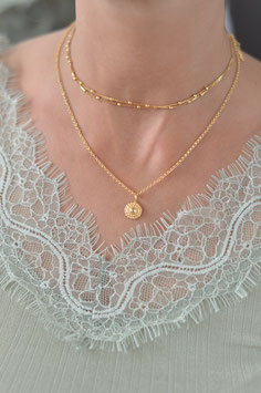 gold Halskette  mit Anhänger shell Pink sand art nr. Gh 25