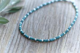 Halskette silber Meron blau türkis Pink Sand Art. Nr. HA 526