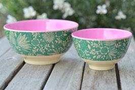 SALE  Schüsselchen Grün Blumen creme innen pink art nr. Ri 80