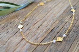 gold Halskette  mit Plaquette und edelstein weiss Pink sand art nr Gh 20