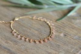 Armkette gold mit vielen Kugeli oranger Mondstein art nr. Ga8