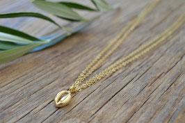 gold Halskette doppelt  mit Kauri Muschel Pink sand art nr. Gh 21