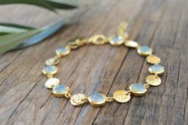 SALE Armkette gold Pinksand mit Plaquetten rund Edelsteine art nr.Ga 6