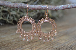 Rosegold Ohrenhänger Kreis mit Zirkon lachs Art.N.r RO 4