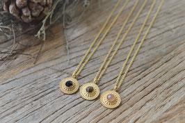 Gold Anker Halskette 45 cm  PInksand Anhänger rund gepunktet