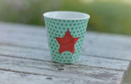 Rice Becher mini Mint mit Stern Rot Art. nr. RI 11