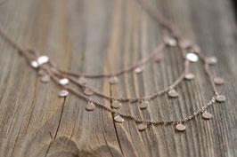 RosegoldHalskette dreireihig  mit Plättli  art nr H/A  130