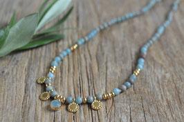 gold Halskette twee mit Edelsteinen Da shanti  art nr. Gh 27