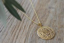 Vergoldete Kette 1,5 mm 90 cm mit Amulett blumig art nr. H/A 152