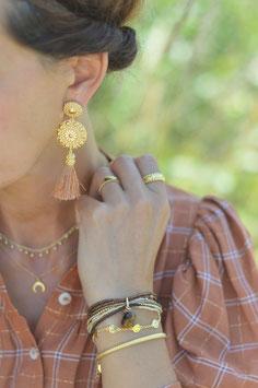Ohrenstecker gold Pinksand  gitano mit Quaste Art nr.  Os 159