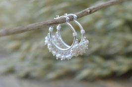 Ohrencreolen Pinksand hampton  silber mit Perlen Art nr. Os 154