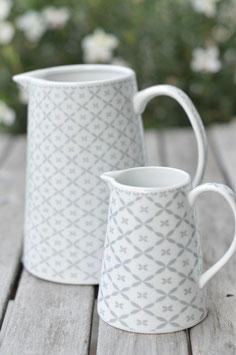 "Krasilnikoff Krug "" jug and creamer "" new diagonal mit Blumenmuster hellgrau art nr. K10"