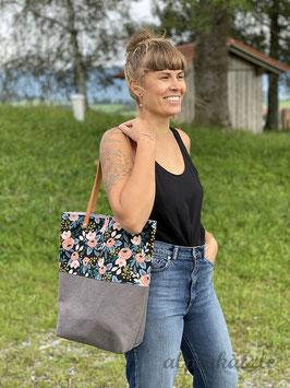 ALMA Blumen-schwarz-peach