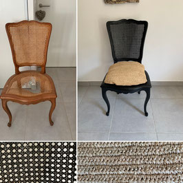 Chaise style régence peinte en noire