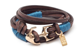 Seemannsgarn Messing N°1 Blau Ankerarmband by LeChatVIVI BERLIN