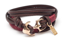 Seemannsgarn Messing N°3 Rot Ankerarmband by LeChatVIVI BERLIN