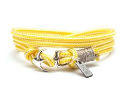 Ankerarmband Silber mit Segeltau Gelb | Weiss - handcrafted LeChatVIVI BERLIN®