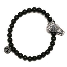 Horse Armband Onyx mit Pferdekopf in Silber