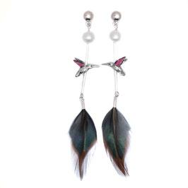 Statement-Ohrring Perle und Kolibri im Ethnostyle Silber * by LeChatVIVI BERLIN