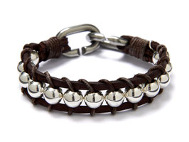Armband Derbes Leder - Edelstahl Silber LeChatVIVI BERLIN Braun