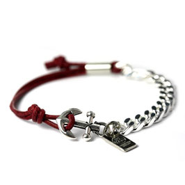 Ankerhaken Armband Dunkelrot by LeChatVIVI BERLIN® - Ankerarmband