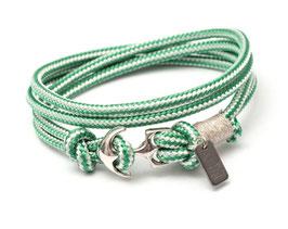 Ankerarmband Silber mit Segeltau Grün | Weiss - handcrafted LeChatVIVI BERLIN®