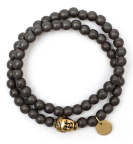 Buddha Pearls Grey Armband N°2 matt Hämatit by LeChatVIVI BERLIN