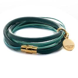 Color Mix N°4 Gold Damen Lederarmband Grün hergestellt von LeChatVIVI BERLIN