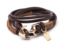 Seemannsgarn Messing N°4 Cognac Ankerarmband by LeChatVIVI BERLIN