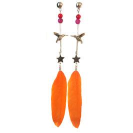 Statement-Ohrring Kolibri & Stern Orange im Ethno Style by LeChatVIVI BERLIN