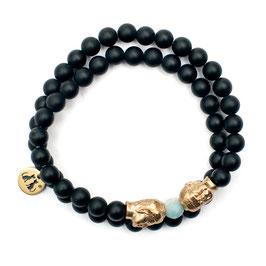 Handgefertigtes Buddha Armband Onyx Fluorit von LeChatVIVI BERLIN