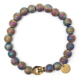 Buddha Pearls Rainbow Armband N°3 Hämatit by LeChatVIVI BERLIN (gold)