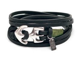 Seemannsgarn Ankerarmband N°3 schwarz olivegrün by LeChatVIVI BERLIN®