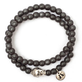 Buddha Pearls Grey Armband N°1 matt Hämatit by LeChatVIVI BERLIN