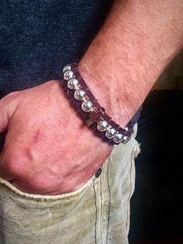 Sonderanfertigung - Derbes Leder echt Silber mit Kreuz by LeChatVIVI BERLIN Braun