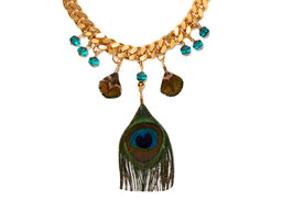 Blue Peacock Collier in Türkisgrün / Gold