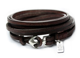 SEEMANNSGARN mini N°2 Anker Armband braun Silber