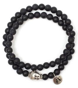 Buddha Pearls Black Armband N°1 matt Onyx by LeChatVIVI BERLIN