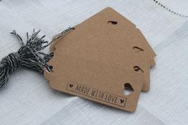 Kraftpapieranhänger ♥ Made with Love (länglich)