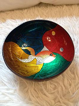 Kokoschale Fisch mit Blattgold